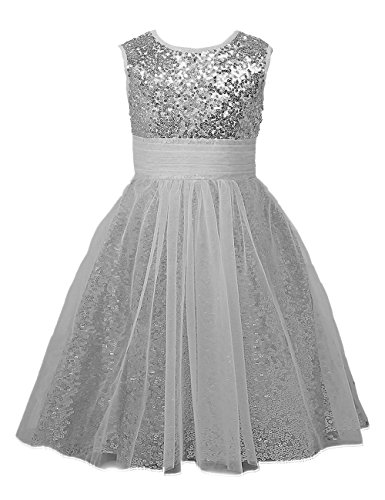 Mermaidtalee Sequin Baby Flower Girl's Dresses Occasion Dresses Long Size10 Silver -