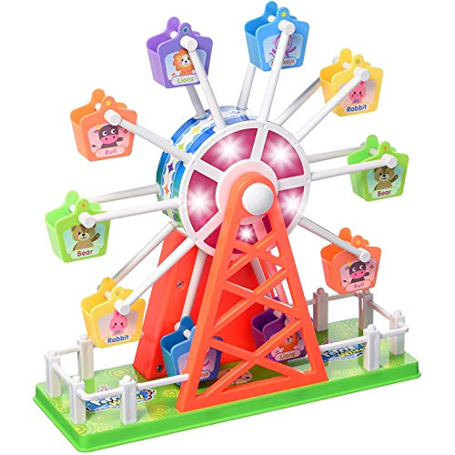Liberty Imports Ferris Wheel Spinning Electronic Rotating Merry Go Round Amusement Park Kids Toy with Music and Lights