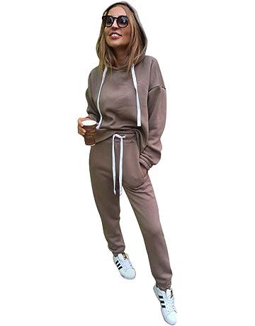 Minetom Donna 2 Pezzi Tuta da Ginnastica Sportiva Tuta Jogging Yoga Manica  Lunga Pullover Felpa con 7ee35e20354