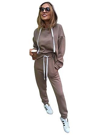 Minetom Femmes 2 Pièce Survêtement Combinaison Manches Longues Sweats à  Capuche Sweat-Shirt Top + Pantalon Joggers Sport Ensemble Gym Yoga Jogging  Suit  ... d7a28aefc2e