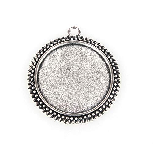 (Kissitty 10pcs Antique Silver Flat Round Pendant Cabochon Setting 30mm(1.18