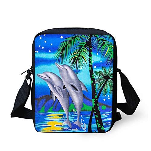 (UNICEU Dolphin Print Cross-Body Bag Casual Phone Purse Pouch Tropical Palm Tree Messenger Handbag)
