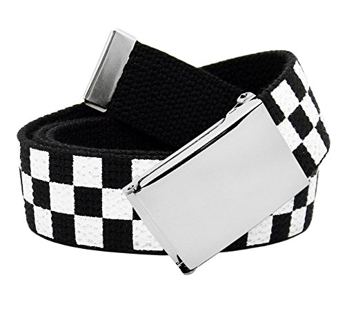 (Men's Classic Silver Flip Top Military Buckle with Canvas Web Belt Small Checkered)
