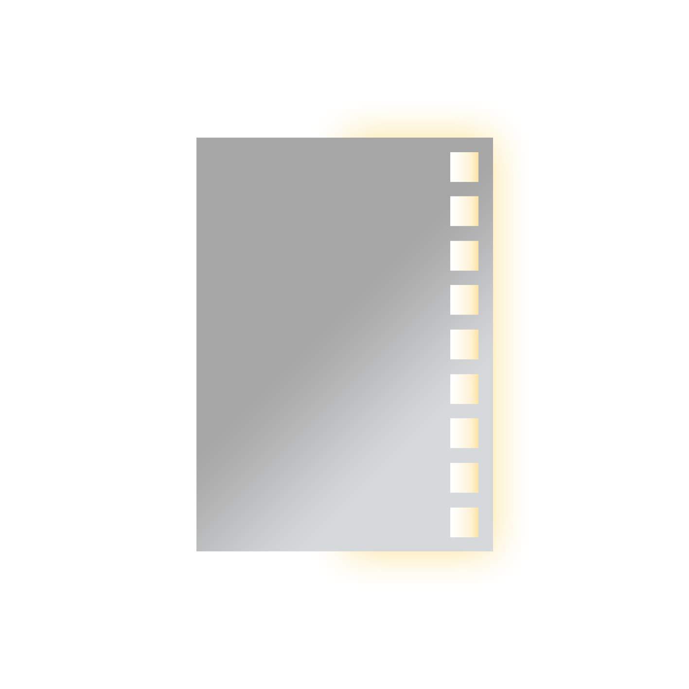 VON ADELBERG LED Badspiegel 50 x 70 cm Spiegel mit Beleuchtung RECHTS Bad Spiegel- GH-667975-1-W57-RECHTS - warm - weiß
