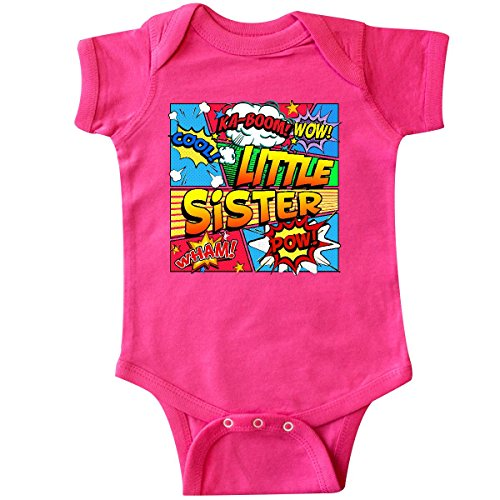 inktastic Little Sister Comic Book Infant Creeper 6 Months Hot Pink -