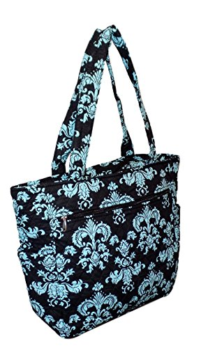 Bohemian Print Quilted Multipurpose Market Beach Large Tote Bag (Blue ()