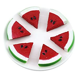 Gresorth 6pcs Highly Simulation Fruit Artificial Red Watermelon Slice Fake Fruits Model Photography Props 1