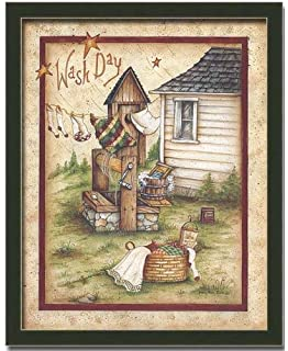 Wash Day Laundry Room Country Decor Art Print Framed