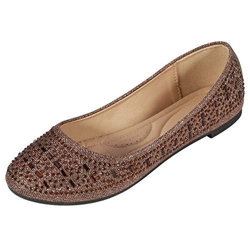 CREPUSCOLO Women's Ballet Flats Rhinestone Womens Flat Slip On Pumps Ballerina Dolly Bridal Shoes Closed Toe Casual…