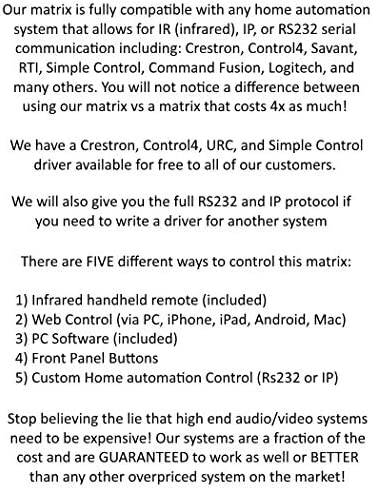 8×8 HDR 18GBPS HDbaseT 4K HDMI Matrix SWITCHER 6 PoC Receivers HDMI 2.0a 2.0 CAT6 CAT5e HDMI HDCP2.2 Routing SPDIF Audio CONTROL4 Savant Home Automation 51hn3uBNlKL