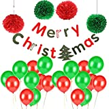 Christmas Xmas Party Decoration Merry Christmas Decorations Kit Red&Green Paper Pom Poms Flowers Balloons Set Party Banner