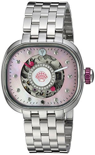 TULIPENOIRE Women's Mechanical Hand Wind Stainless Steel Watch, Color:Silver-Toned (Model: B1)