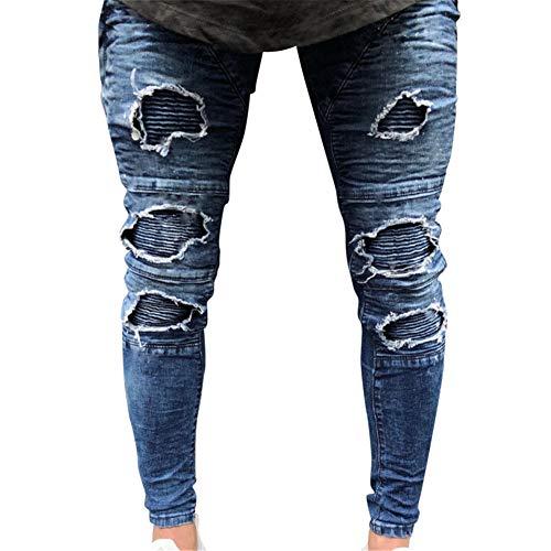 Skinny Cuciture Fit Pantaloni Denim 1862 Moda Cerniera Con Alla Jeans Strappati Pants Uomo Distrutto AcWZvZa