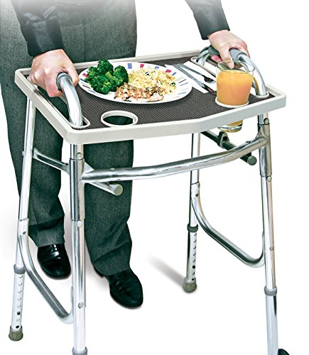 Universal Walker Tray Table With Non Slip Grip Mat - Gray … Walker Tray