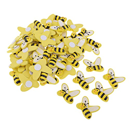 MagiDeal 50 Pieces Bee Shape Adhesive Wooden Shapes Embellishments for Scrapbooking Kids Craft Cardmaking