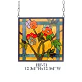 HF-71 12.75'' Tiffany Style Stained Glass Pastoral Colorful Flowers Square Window Round Hanging Sun Catcher