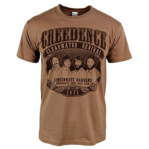 (Mens Retro Creedence Clearwater Revival 1971 T-Shirt Brown Large - Chest 42-44in Black Print)