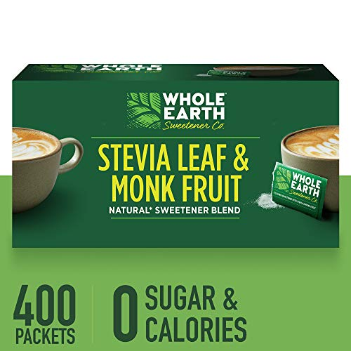 (WHOLE EARTH SWEETENER Stevia Leaf and Monk Fruit Sweetener, Erythritol Sweetener, Sugar Substitute, Zero Calorie Sweetener, 400 Stevia Packets)