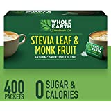 WHOLE EARTH SWEETENER CO. Stevia & Monk Fruit Sweetener, Erythritol Sweetener, Sweet Leaf Stevia Packets, Sugar Substitute, Natural Sweetener, 400 Count,Pack of 1