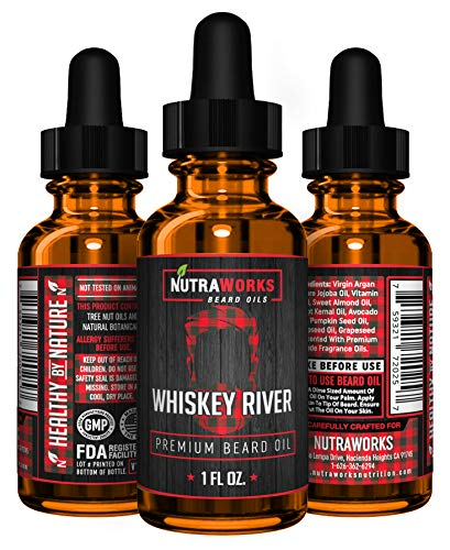 Premium Beard Oil – Organic All-In-One Conditioner & Softener – Virgin Argan Oil, Jojoba Oil & More – Moisturize & Promote Strong Healthy Beards & Thicker Mustache Growth for Men (Whiskey River Scent)