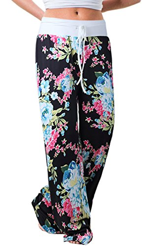 Angashion Women's High Waist Casual Floral Print Drawstring