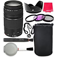 Canon EF 75–300mm f/4–5.6 III Autofocus Lens for SL1 T6 T6s T6i 7D Mark II 80D 70D 6D 5D Mark III Mark IV 5DS 5DS R DSLR Cameras + Complete Accessory Kit - International Version (No Warranty)