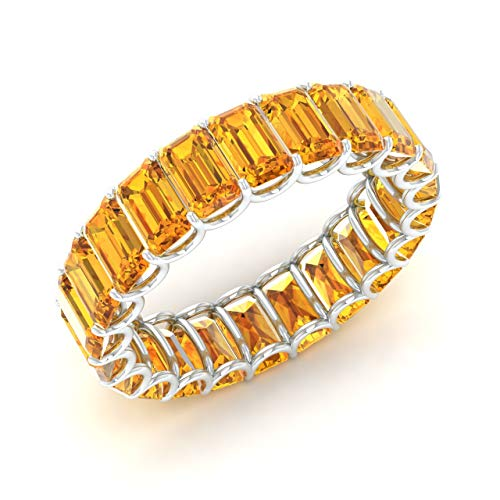 Diamondere Natural and Certified Citrine Wedding Ring in 14K White Gold | 6.25 Carat Emerald Cut Full Eternity Stackable Band Size 8