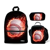 FOR U DESIGSN Canvas Kids Backpack with Pencil & Lunch Bags Flame Baseball Pattern