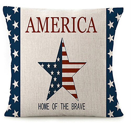 Decorative Flag Pillow (Various Creative American Flag Star Stripes Design And Funny Quote America Home Of The Brave Cotton Linen Throw Pillow Covers Cushion Cover Decorative Sofa Bedroom Living Room Square 18 Inches)