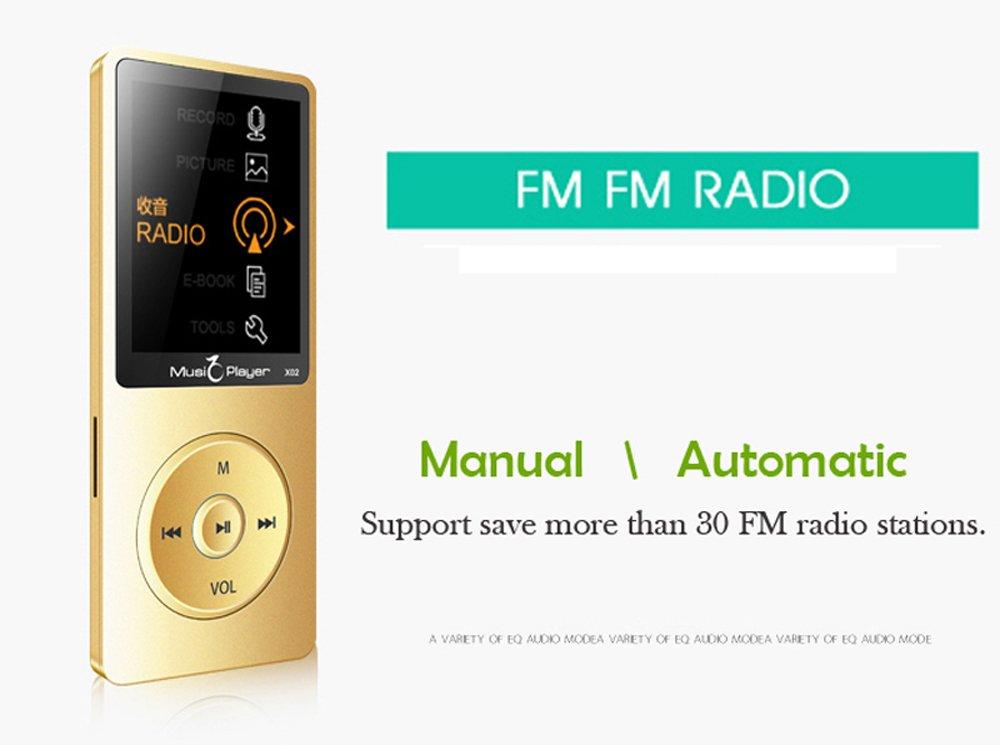 Amazon.com: 2016 New Original X02 Ultrathin Speaker MP3 MP4 Music Player with 8GB storage and 1.8 Inch Screen /FM/e-book/Voice recorder/Alarm clock/Calendar ...