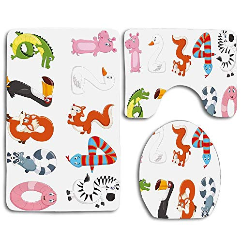 YGUII Numbers in The Form of Animals Cartoon Style Arithmetic Lesson 3pcs Set Rugs Skidproof Toilet Seat Cover Bath Mat Lid Cover Cushions Pads