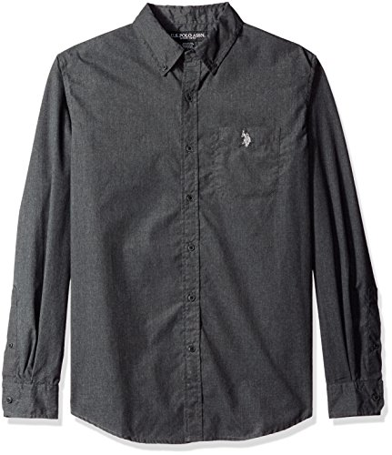U.S. Polo Assn. Mens Long Sleeve Solid Cotton Poplin Heathered Sport Shirt