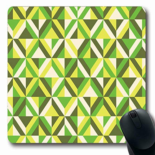 LifeCO Mouse Pad Set Yellow 70S Retro Mod 60S Pattern Green Abstract Acid Cream Diamonds Design Khaki Oblong Shape 7.9 x 9.5 Inches Mousepad for Notebook Computer Mat Non-Slip Rubber