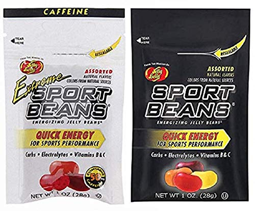 Jelly Belly Sport Beans - Assorted and Extreme Assorted With Caffeine - Energy Chews [6 PACK] Energizing Jelly Beans - Click for more sizes]()