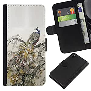 WINCASE (No Para Z3 plus+ / Z3 compact) Cuadro Funda Voltear Cuero Ranura Tarjetas TPU Carcasas Protectora Cover Case Para Sony Xperia Z3 D6603 - plumas de aves vendimia wallpaper