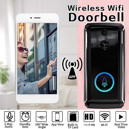 Smart Wireless WiFi Video Doorbell - Phone Intercom Door Bell - HD 1080P Security Camera - Long Standby Wide Angle with PIR Motion Detection Night Vision Real-time Video Two-WayTalk (BLACK) ()