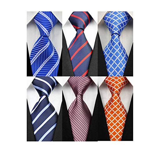 - YanLen Pack of 6 Classic Men's Silk Polyester Tie Necktie Woven JACQUARD Neck Ties (TZ07)