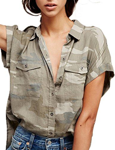 HaoDuoYi Womens Camouflage Print Short Sleeve Button Down