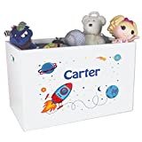 Personalized Rocket Childrens Nursery White Open Toy Box