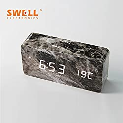 Wooden bedside luminous clock mute alarm clock bedroom clocks and lazy creative fashion LED wooden clock,Black marble-white