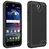 ZTE ZMax Champ Case, ZTE Zmax Grand Case, ZTE Grand X3 Case, ZTE Warp 7 Case, CoverON [HexaGuard Series] Slim Hybrid Hard Phone Cover Case for ZTE Grand X 3 - Black