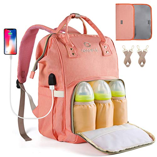 Diaper Bag Backpack for Mom Waterproof Baby Nappy Bags Insulated Bottle Pockets ORANIFUL Large Multi-functional Travel Back Pack Built-in USB Charging Port with Changing Pad & Stroller Straps (Orange)
