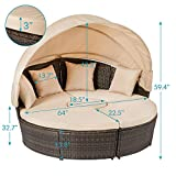 Aoxun Outdoor Patio Daybed Backyard Round Bed with