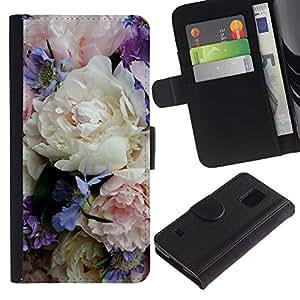 KLONGSHOP / Tirón de la caja Cartera de cuero con ranuras para tarjetas - Colorful Delicate Flowers Bouquet - Samsung Galaxy S5 V SM-G900