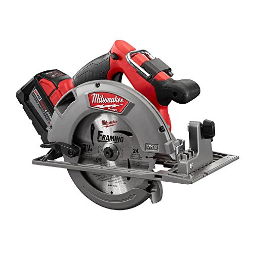 Milwaukee M18 FUEL 18-Volt Lithium Ion Brushless Cordless 7 1/4 in. Circular Saw with M18 18-Volt 9.0Ah Starter Kit   Modern Hardware Power Tools for Your Carpentry Workshop or Machine Shop by Milwaukee (Image #3)