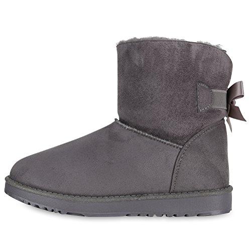 Stiefelparadies Damen Stiefeletten Schlupfstiefel Warm Gefütterte Stiefel Schuhe Flandell Grau