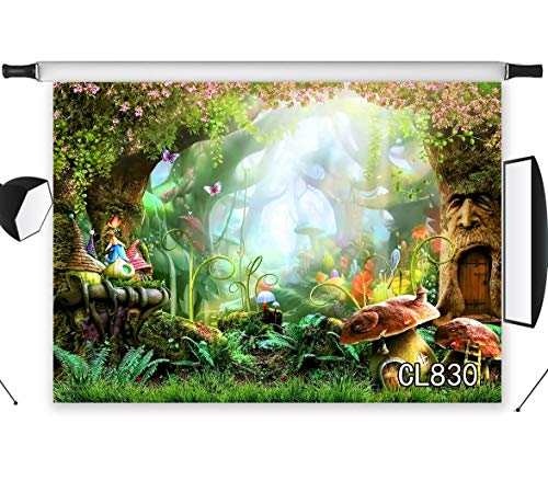 LB Forest Dreamlike Fairytale Backdrop for Photography 7x5ft Kids Newborn Baby Shower Birthday Party Photo Background Wall Decoration Studio Props Vinyl Customized CL830