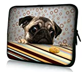 "Funny Pug Dog Universal 15"" 15.4""15.5"" Neoprene Notebook Laptop Soft Sleeve Bag Cover Case for 15.6 Inch Acer Asus Compaq Dell Inspiron XPS Lenovo HP Samsung Toshiba Apple Macbook"