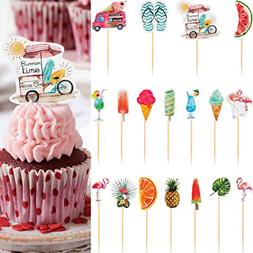 PAMASE 48pcs Hawaiian Party Cupcake Toppers Tropical Luau Summer Themed Party Decorations Birthday Party -