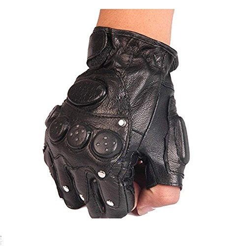 (FCLANDING Men and Women Fingerless Gloves Wrist Half Finger Glove Tactical Gloves Ridding Gloves Fingerless Mittens Real Genuine Leather)